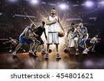 collage from basketball players ... | Shutterstock . vector #454801621
