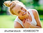 beautiful young blond girl with ... | Shutterstock . vector #454803079