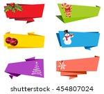 christmas label ribbon banner... | Shutterstock .eps vector #454807024
