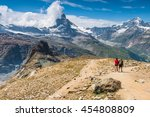 hikers walking on spectacular... | Shutterstock . vector #454808809