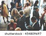 business people meeting eating... | Shutterstock . vector #454809697