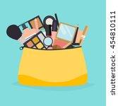 cosmetic bag with makeup stuff. ... | Shutterstock .eps vector #454810111