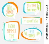 summer banner set logo  sticker ... | Shutterstock .eps vector #454810615