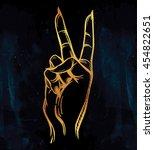 v sign hand. flash tattoo... | Shutterstock .eps vector #454822651