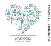 love hiking. outdoor concept.... | Shutterstock .eps vector #454824091