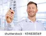 attractive businessman or... | Shutterstock . vector #454838569
