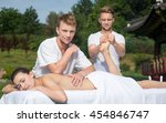 professional massage medical... | Shutterstock . vector #454846747