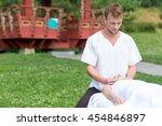 professional massage medical... | Shutterstock . vector #454846897