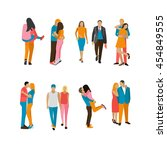 vector set of couples in love.... | Shutterstock .eps vector #454849555