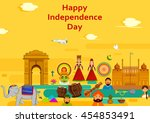 15th august  happy independence ... | Shutterstock .eps vector #454853491