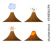 volcano icon set isolated on... | Shutterstock . vector #454856194