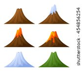 mountain with volcano  forest... | Shutterstock . vector #454856254