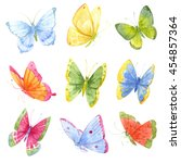 Stock photo watercolor butterfly a bright set of bright butterflies children print 454857364