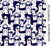 fashion girl  seamless pattern. ... | Shutterstock .eps vector #454859119