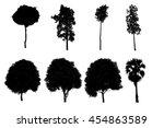 black tree silhouette on a...   Shutterstock . vector #454863589