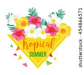 tropical summer poster with... | Shutterstock . vector #454866571