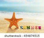 summer beach. word summer of... | Shutterstock . vector #454874515