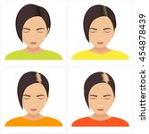 female hair loss stages vector... | Shutterstock .eps vector #454878439