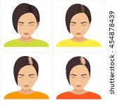female hair loss stages vector... | Shutterstock .eps vector #454878439