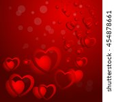 hearts on a red background with ... | Shutterstock .eps vector #454878661