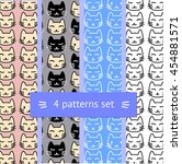 set of four pattern with cat... | Shutterstock .eps vector #454881571