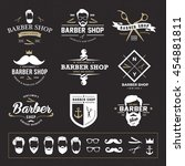 barber shop logo set | Shutterstock .eps vector #454881811