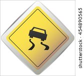 vector slippery road sign ... | Shutterstock .eps vector #454890565