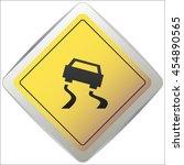 vector slippery road sign ... | Shutterstock .eps vector #454890565