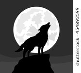 wolf howling at moon  vector... | Shutterstock .eps vector #454892599