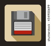 Magnetic Diskette Icon In Flat...