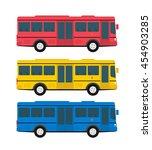city bus in flat style side... | Shutterstock .eps vector #454903285