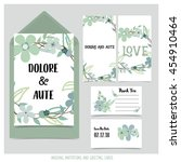 wedding invitation card with... | Shutterstock .eps vector #454910464