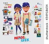nerd and geek character design. ... | Shutterstock .eps vector #454918654