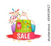 big sale banner with color... | Shutterstock .eps vector #454919917