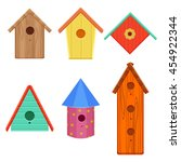 Stock vector colorful bird houses set vector illustration isolated on a white background 454922344