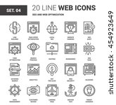 vector set of seo and web... | Shutterstock .eps vector #454923649