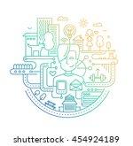 illustration of modern line... | Shutterstock . vector #454924189