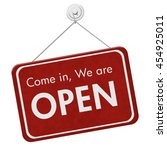 come in we are open sign  a red ... | Shutterstock . vector #454925011