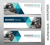 Collection blue horizontal business banner set vector templates. clean modern geometric abstract background layout for website design. simple creative cover header. in rectangle | Shutterstock vector #454929505