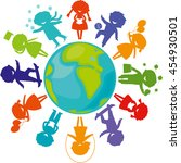 cute children silhouettes... | Shutterstock . vector #454930501