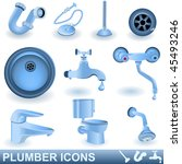 Vector Blue Plumber Icons Set