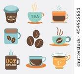 tea and coffee cups and mug... | Shutterstock .eps vector #454933831