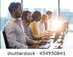 team of colleagues working at... | Shutterstock . vector #454950841
