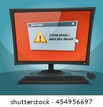 cartoon computer with error... | Shutterstock .eps vector #454956697
