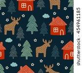 christmas pattern   xmas trees  ... | Shutterstock .eps vector #454961185