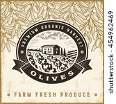 vintage olive harvest label.... | Shutterstock .eps vector #454962469