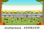 banner over cartoon people in... | Shutterstock .eps vector #454981939