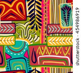colorful seamless ethnic... | Shutterstock .eps vector #454986919