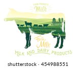 silhouette of a cow combined... | Shutterstock .eps vector #454988551