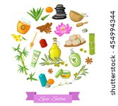 spa salon round design with... | Shutterstock .eps vector #454994344